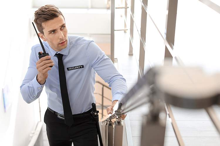 security guard in commercial building