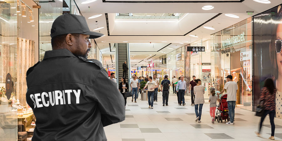 security guard in retail shopping mall